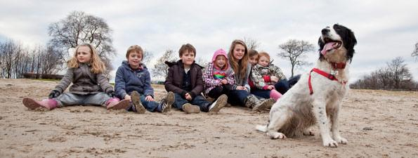 Kids on Beach with Dog
